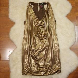 """NWT ABS Gold Party Sleveless """"Wet"""" Dress Small"""